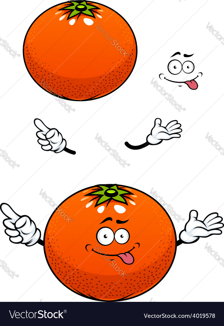 Orange fruit with glossy peel cartoon character vector | Price: 1 Credit (USD $1)
