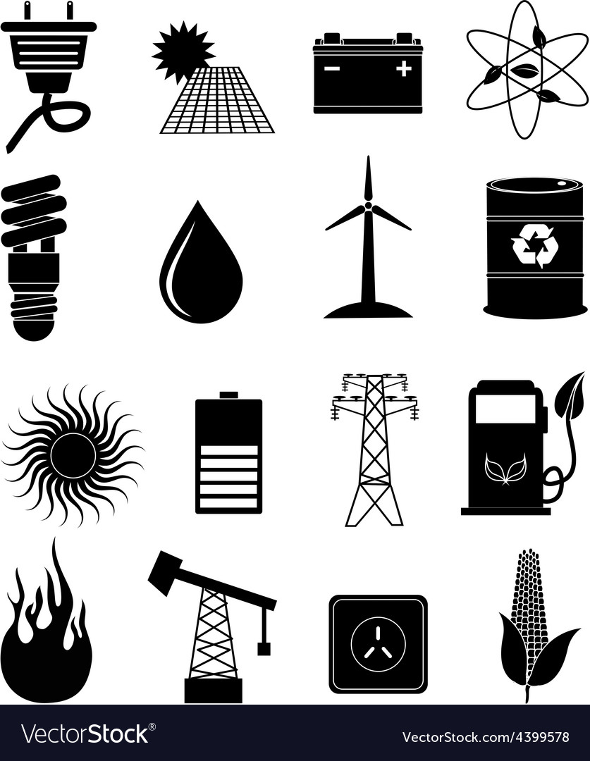 Power energy icons set vector | Price: 3 Credit (USD $3)