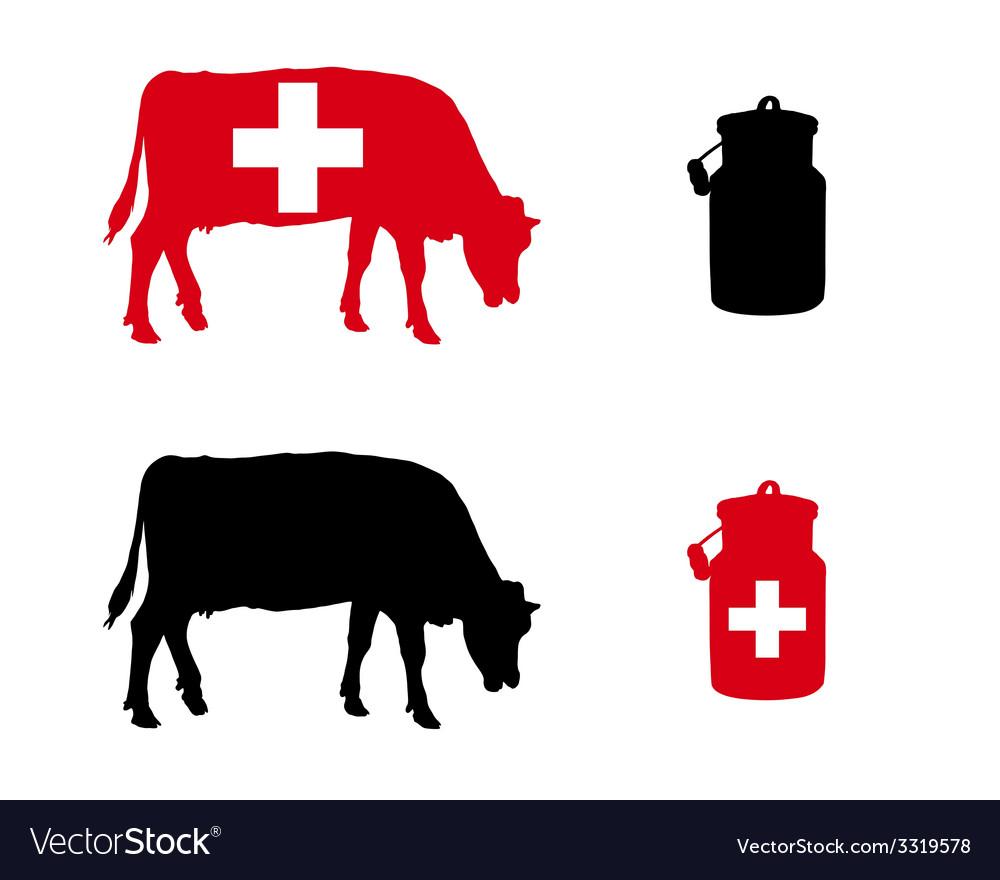 Swiss milk cow vector | Price: 1 Credit (USD $1)