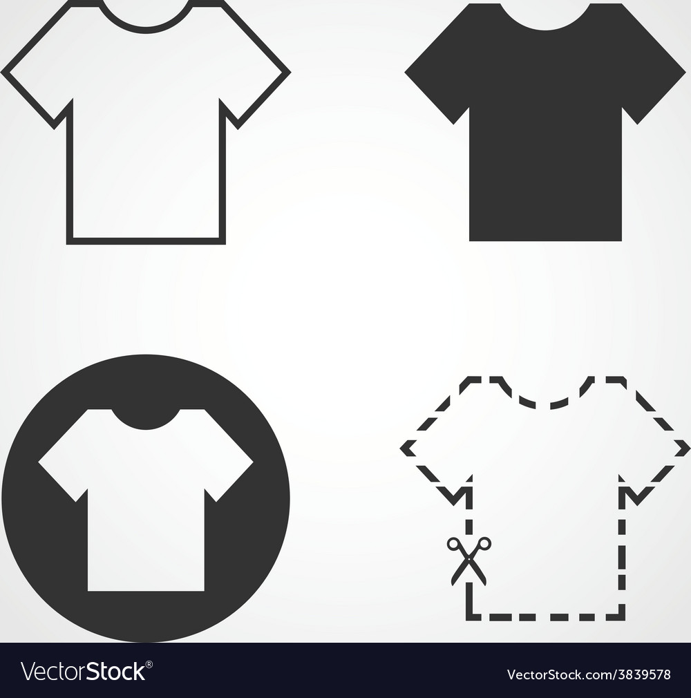 T shirt icons set flat design vector | Price: 1 Credit (USD $1)