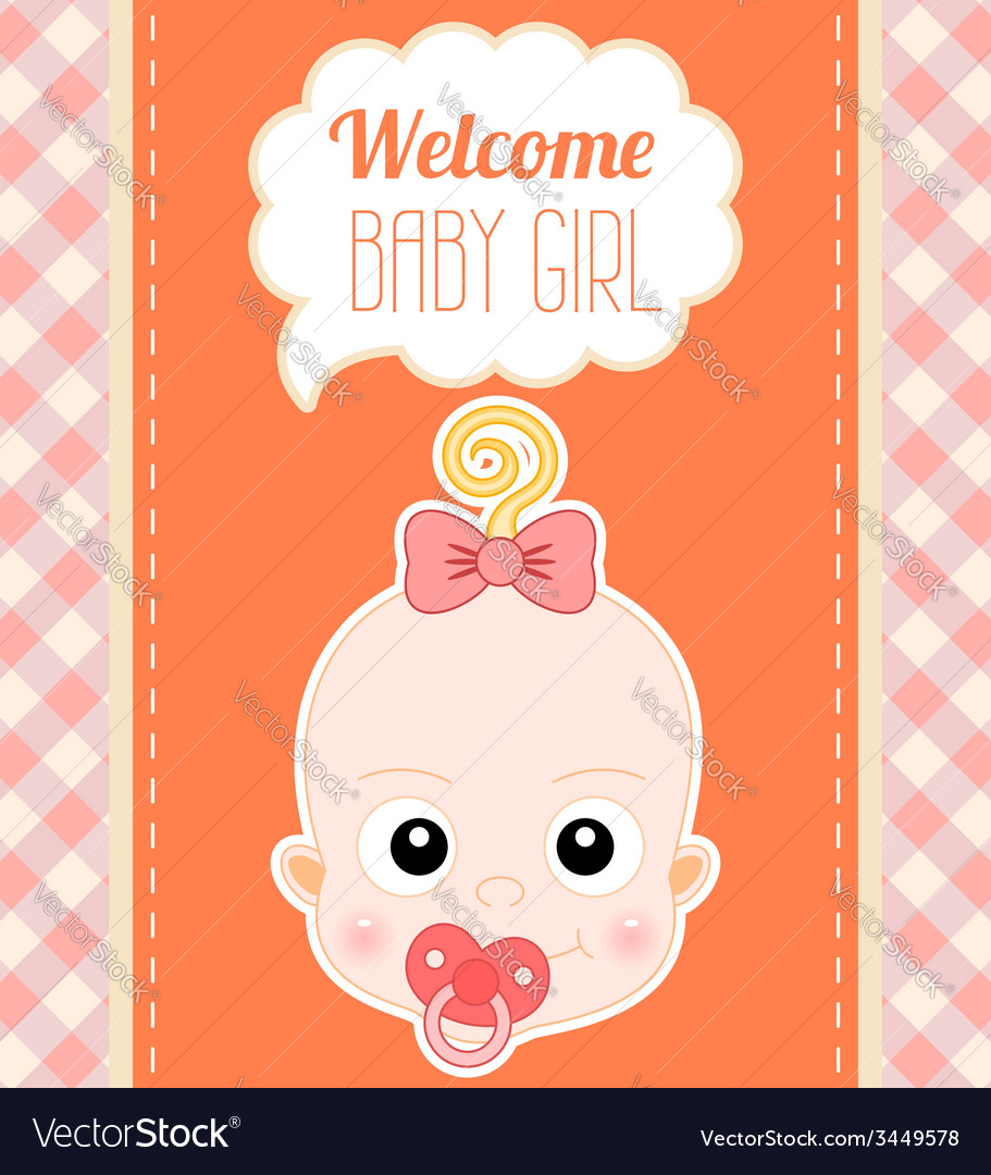 Welcome baby girl card vector | Price: 1 Credit (USD $1)