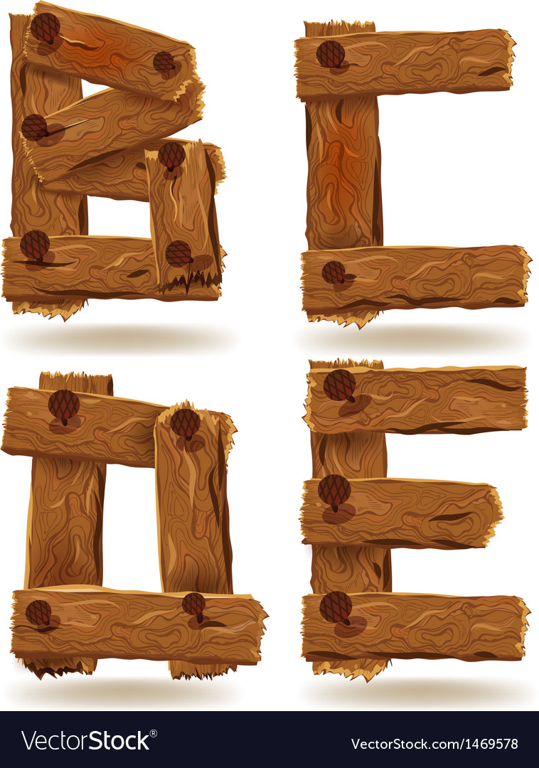 Wooden b c d e vector | Price: 1 Credit (USD $1)