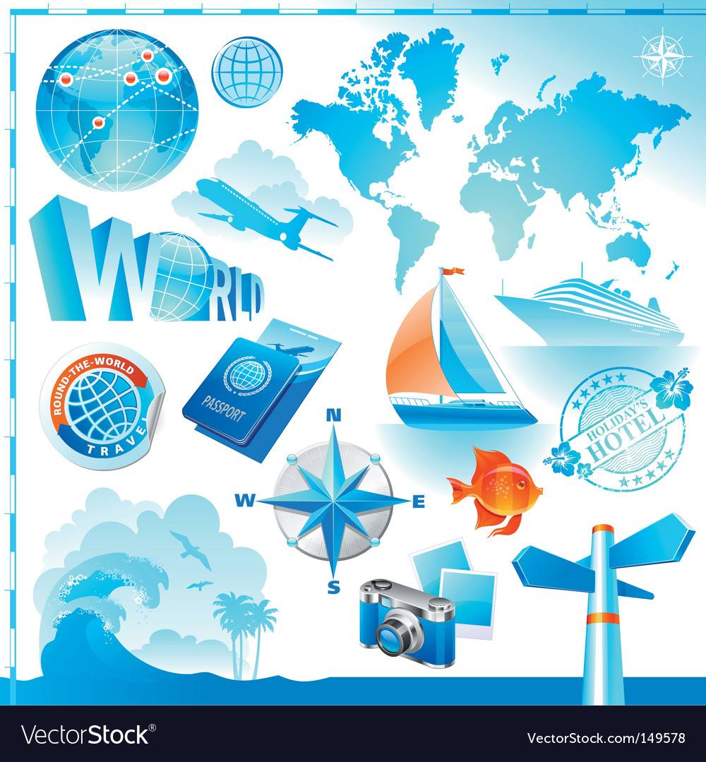 World travel set vector | Price: 3 Credit (USD $3)