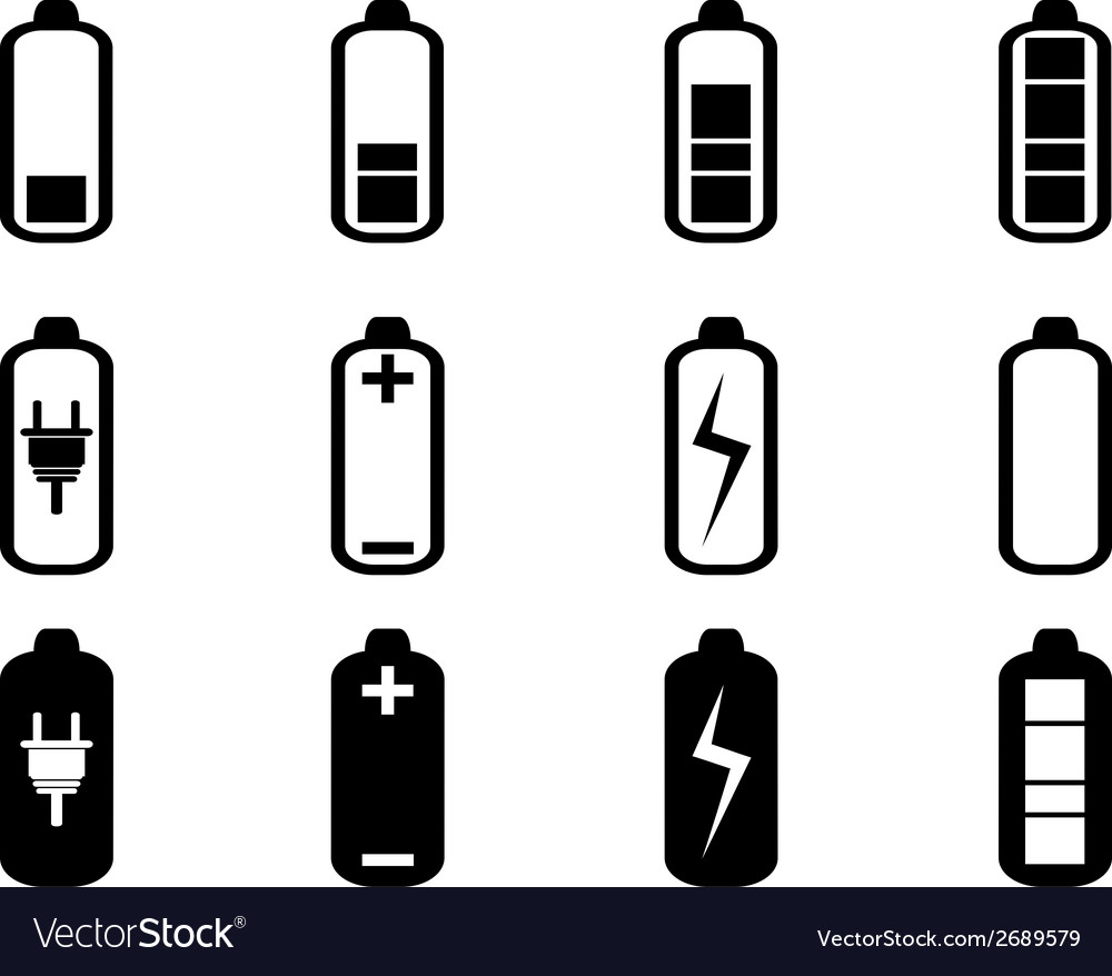 Black battery icons set vector | Price: 1 Credit (USD $1)