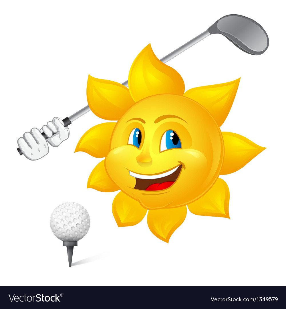 Blue eyed sun is playing golf vector | Price: 1 Credit (USD $1)