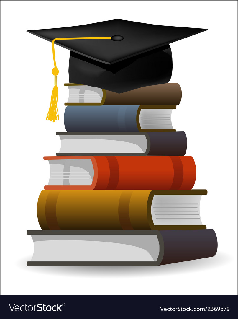 Books with the graduation cap vector | Price: 1 Credit (USD $1)