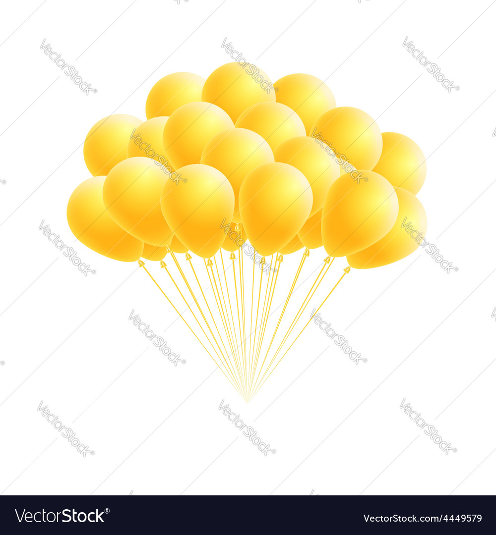 Bunch birthday or party yellow balloons vector | Price: 1 Credit (USD $1)