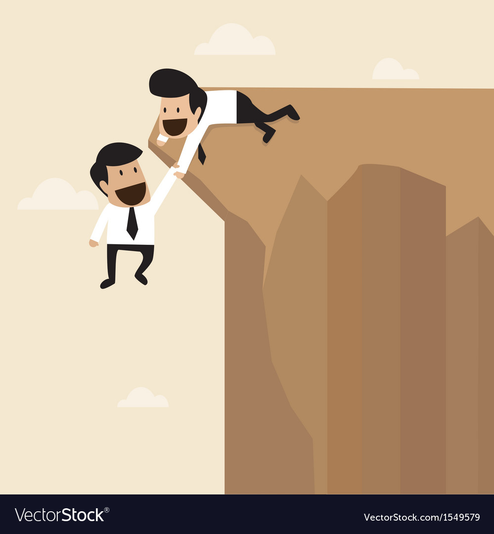 Businessman help to pull another from bottom vector | Price: 1 Credit (USD $1)