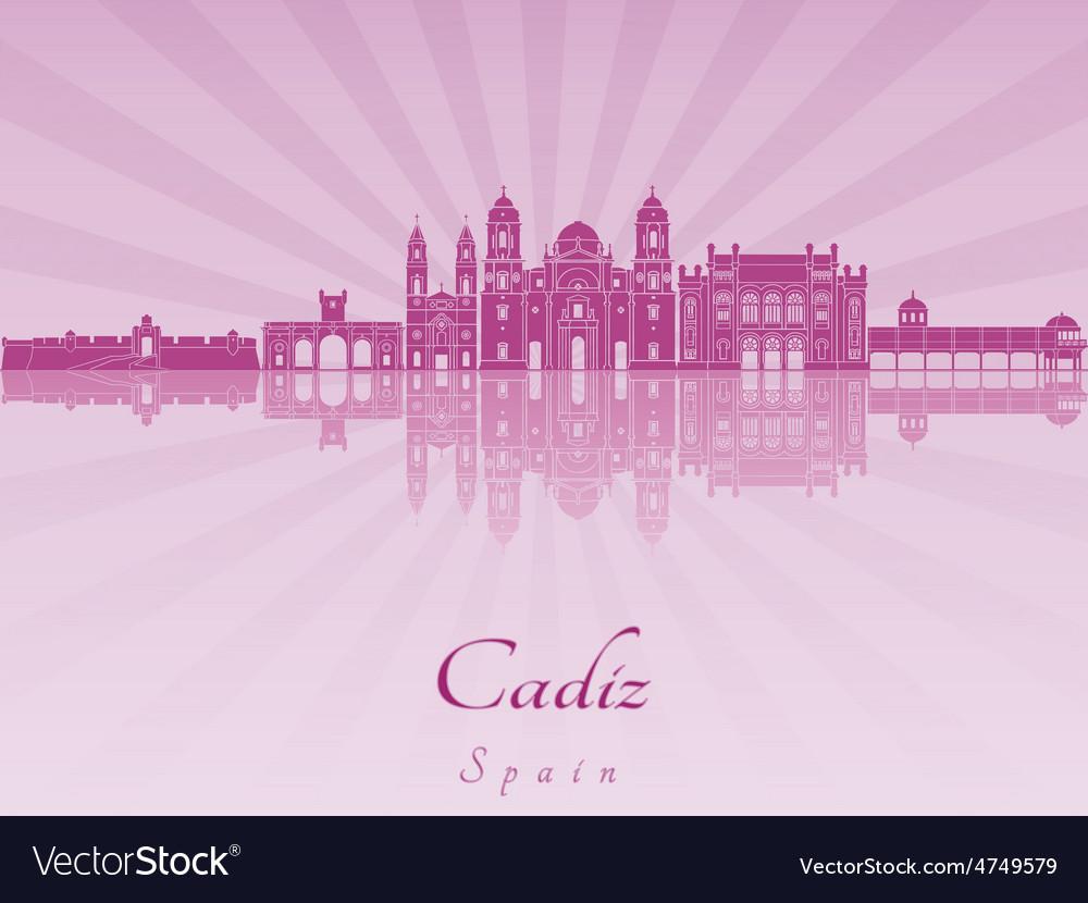 Cadiz skyline in purple radiant orchid vector | Price: 1 Credit (USD $1)