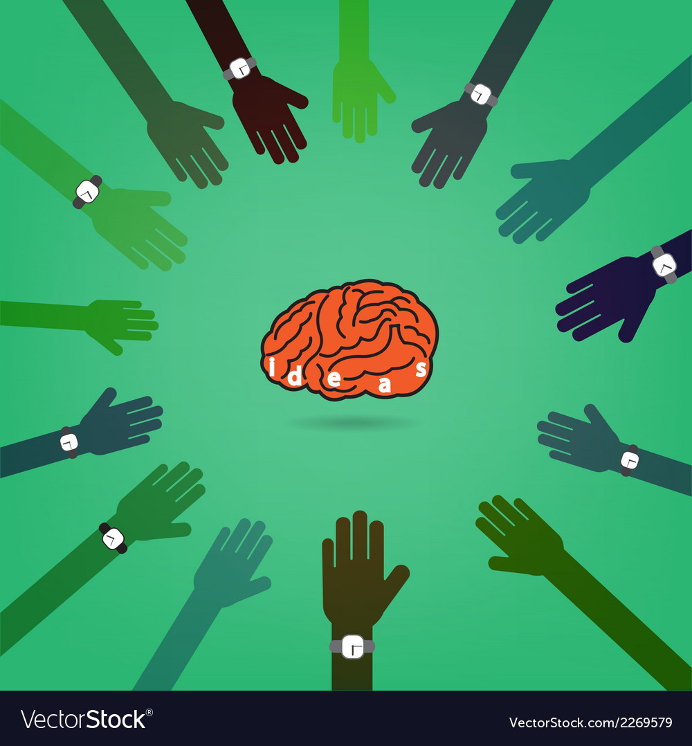 Creative brain idea concept with businessman hands vector | Price: 1 Credit (USD $1)