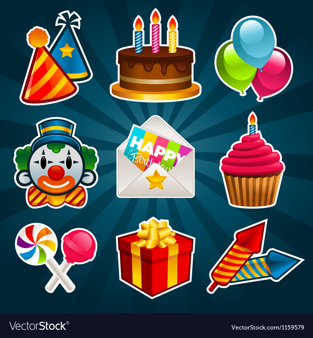 Happy birthday party icons vector | Price: 1 Credit (USD $1)