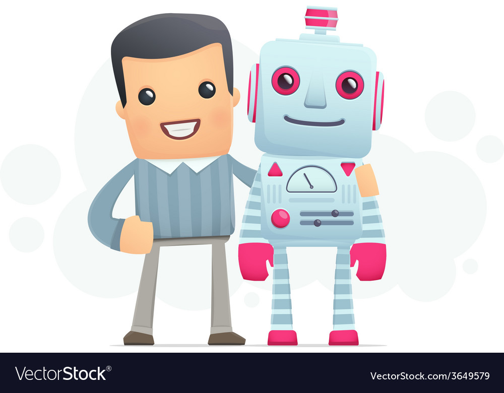 Man and the robot best friends vector   Price: 1 Credit (USD $1)