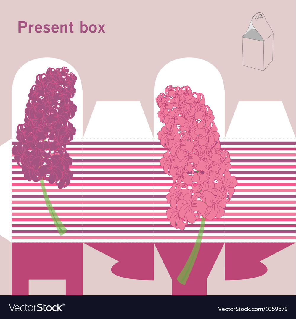 Present box with hyacinth vector | Price: 1 Credit (USD $1)