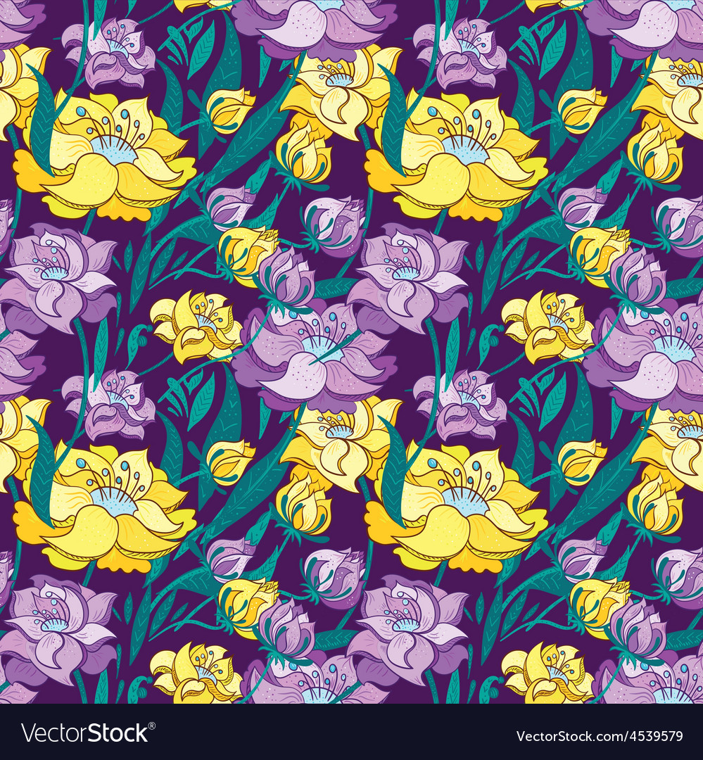 Purple and yellow peony pattern vector | Price: 1 Credit (USD $1)