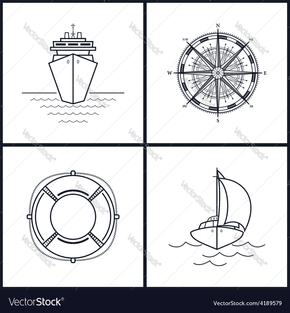 Set of maritime icons vector | Price: 1 Credit (USD $1)