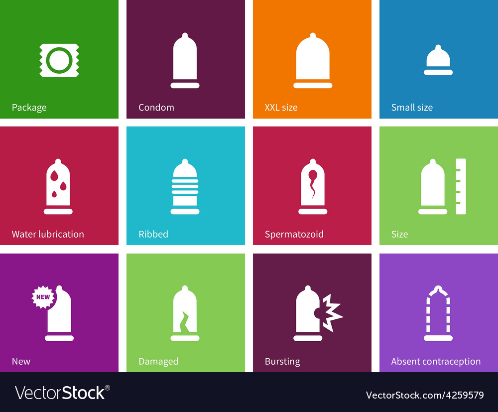 Sex and condom icons on color background vector | Price: 1 Credit (USD $1)