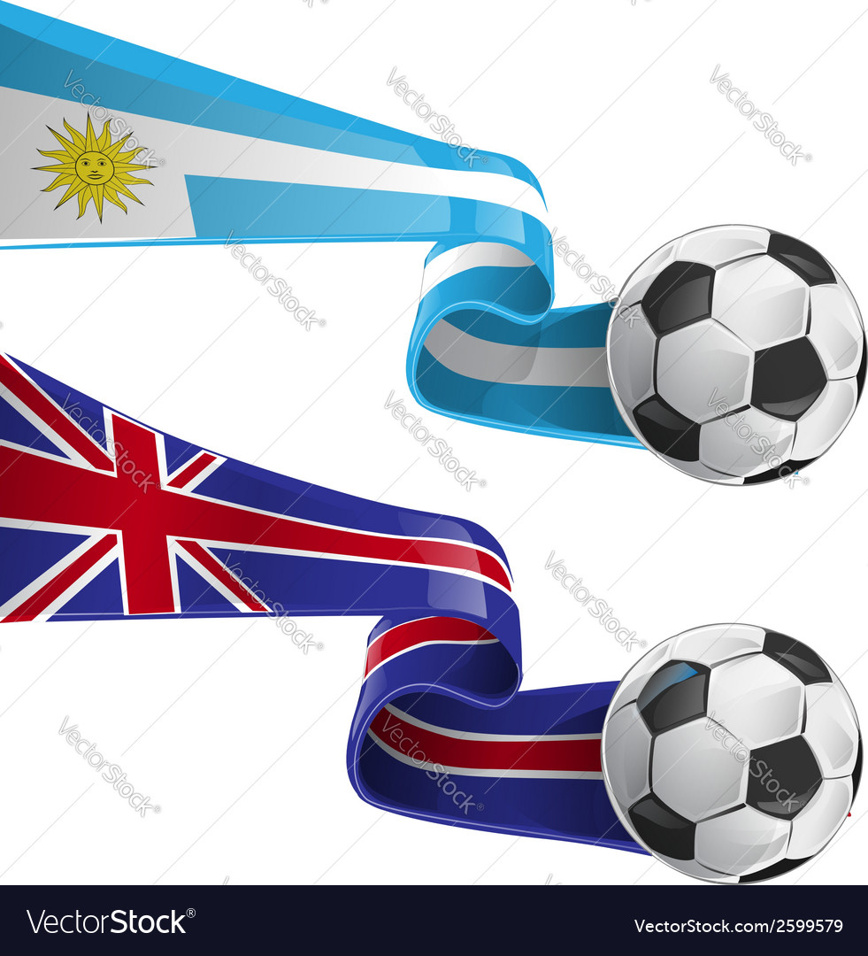Uruguay england flag with soccer ball vector | Price: 1 Credit (USD $1)