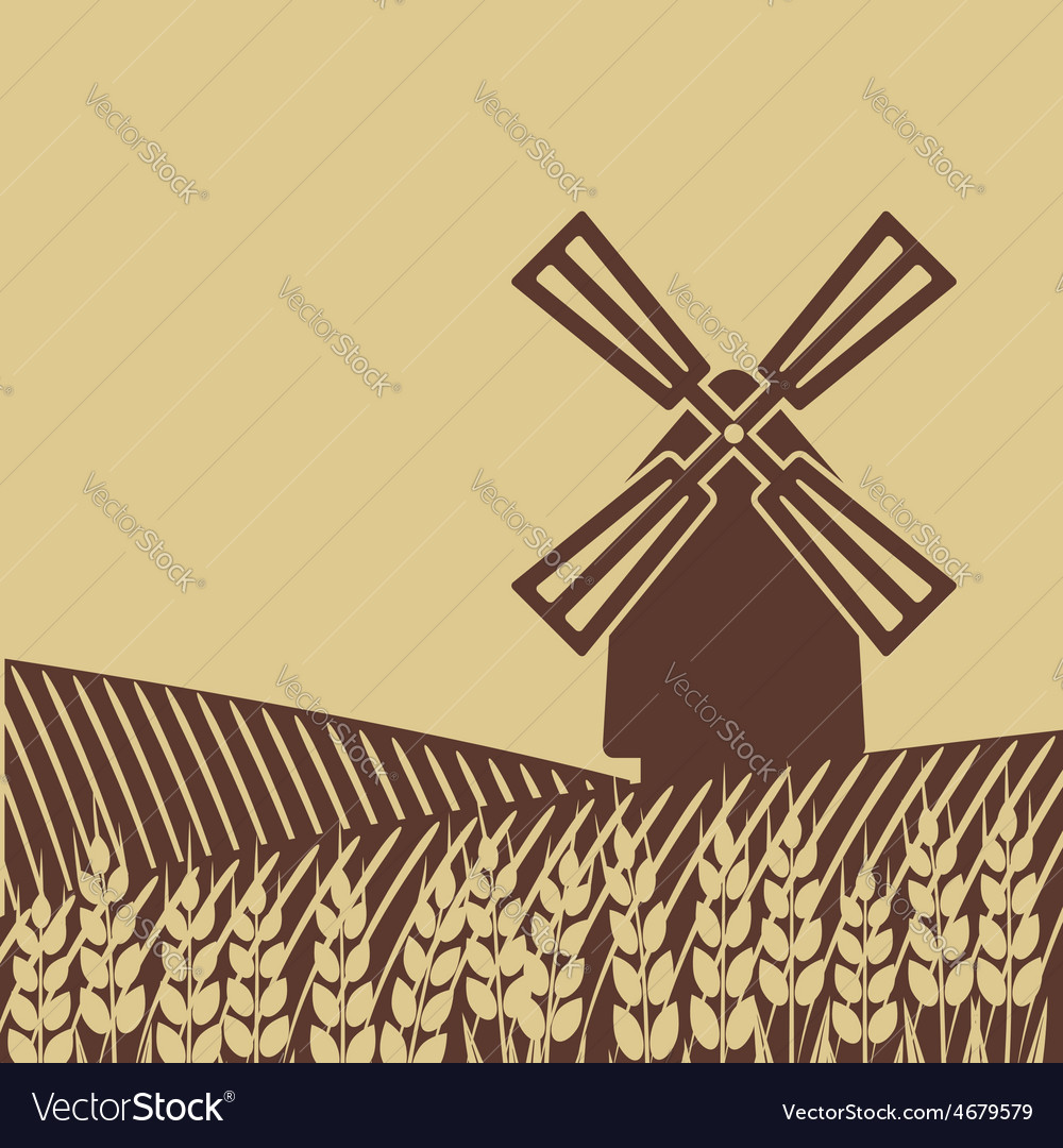 Windmill in wheat field vector | Price: 1 Credit (USD $1)