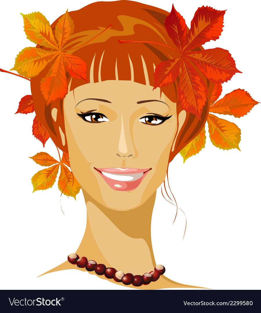 Autumn beautiful woman portrait vector | Price: 1 Credit (USD $1)