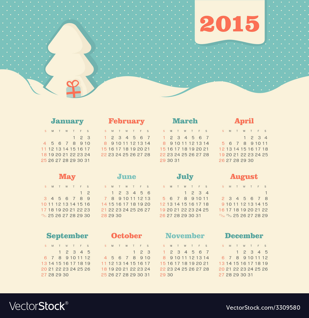 Calendar 2015 year with christmas tree vector | Price: 1 Credit (USD $1)