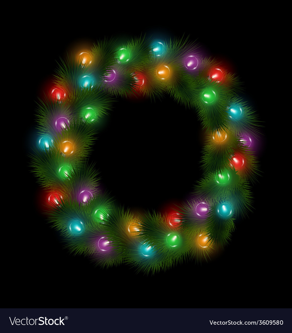 Christmas wreath with multicolored glassy led vector | Price: 1 Credit (USD $1)