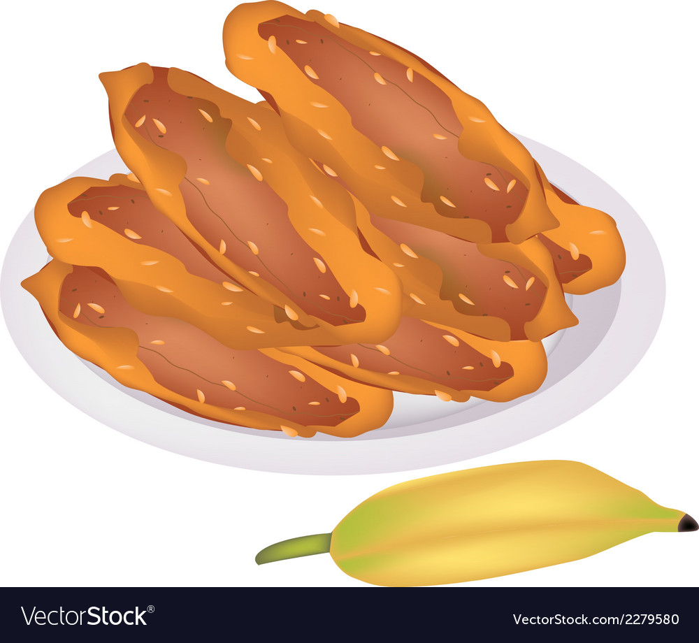 Delicious fried bananas on a white dish vector | Price: 1 Credit (USD $1)