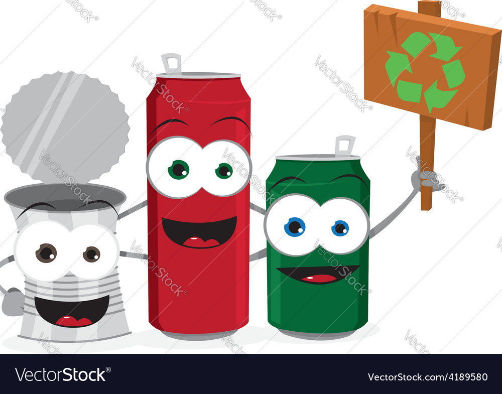 Funny empty cans holding recycling sign vector | Price: 1 Credit (USD $1)