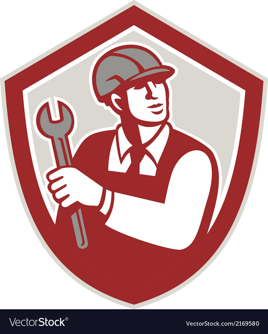 Mechanic holding wrench shield crest retro vector | Price: 1 Credit (USD $1)