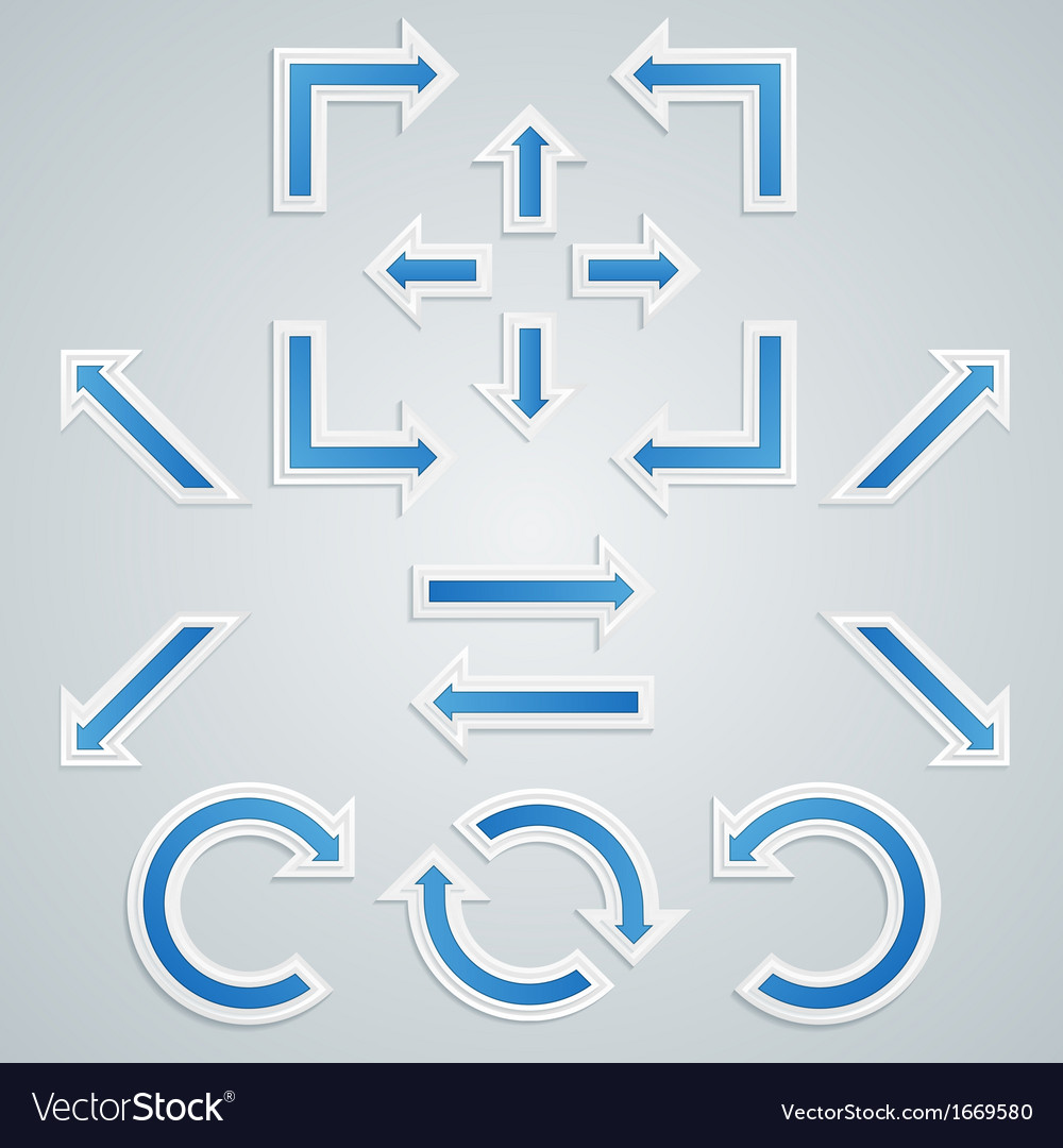 Set of blue sharp arrows for infographics vector | Price: 1 Credit (USD $1)