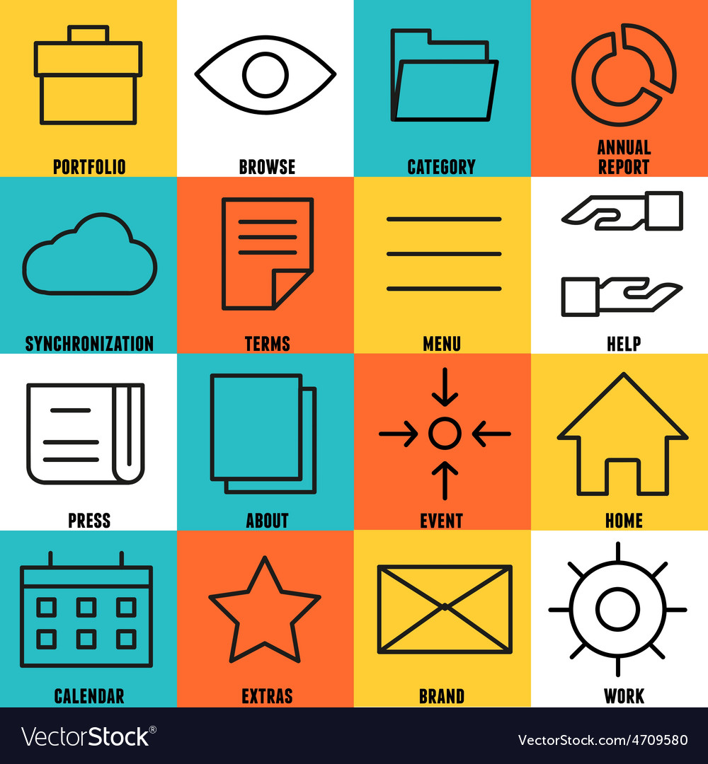 Set of linear internet service icons - part 4 vector | Price: 1 Credit (USD $1)