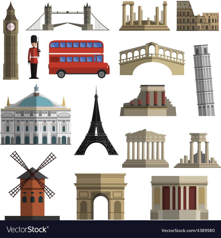Travel landmark flat icons set vector | Price: 1 Credit (USD $1)