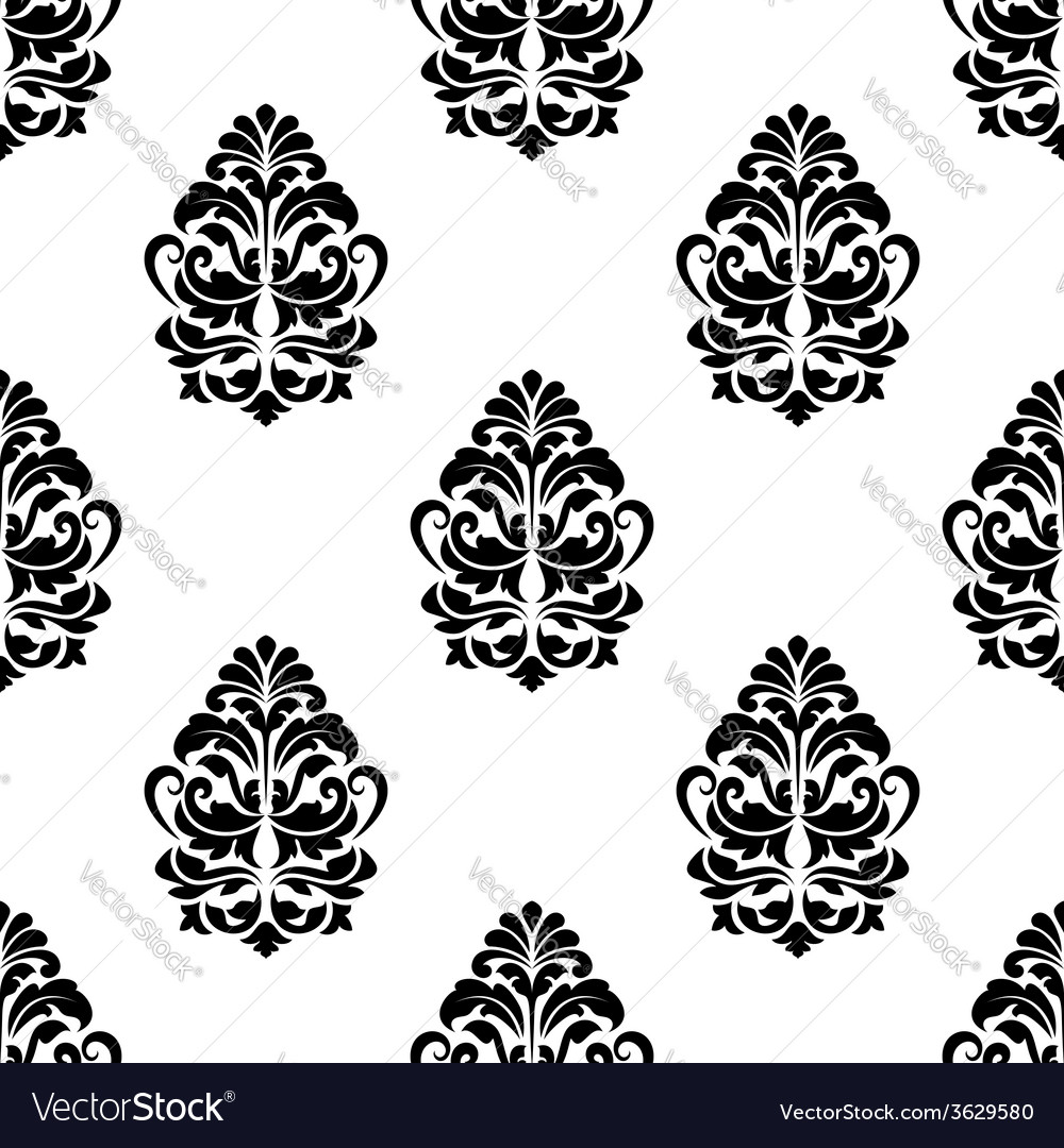 White and black classic floral seamless pattern vector | Price: 1 Credit (USD $1)