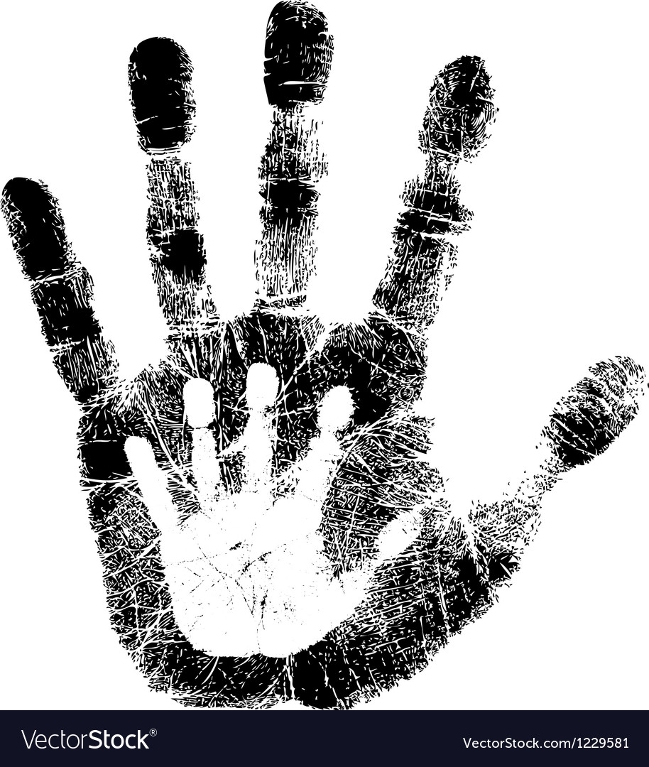 Adult and child hand print vector | Price: 1 Credit (USD $1)