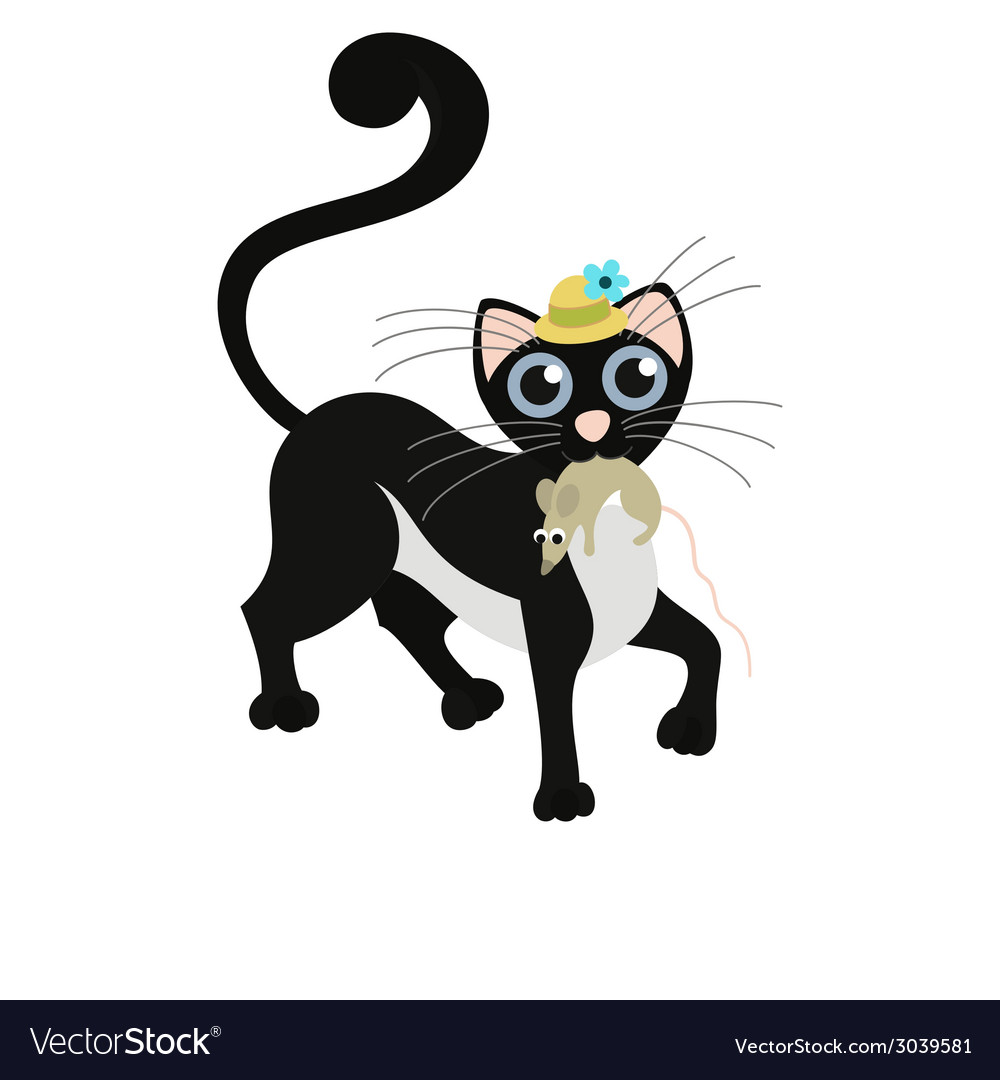 Black cat keeps the mouse vector | Price: 1 Credit (USD $1)