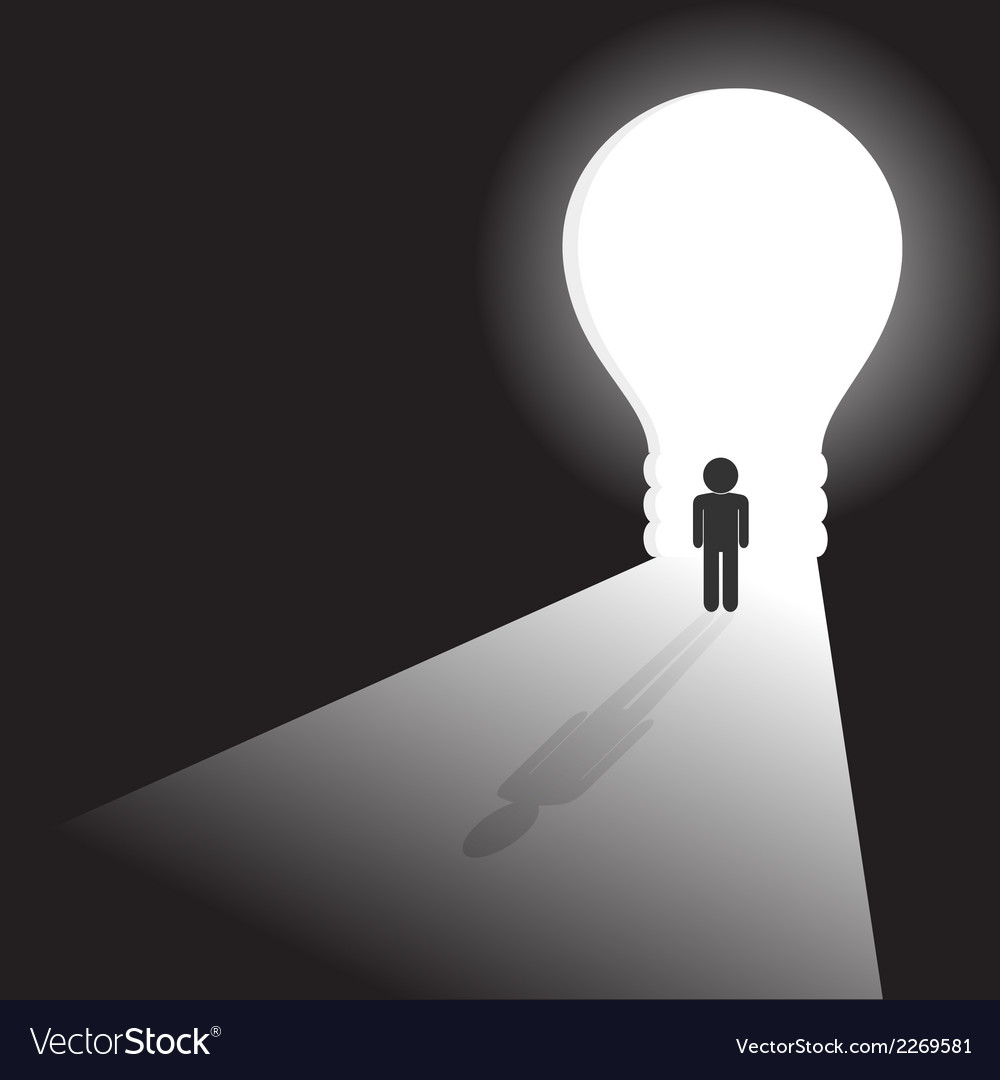 Businessman in front of a bright light bulb door vector | Price: 1 Credit (USD $1)