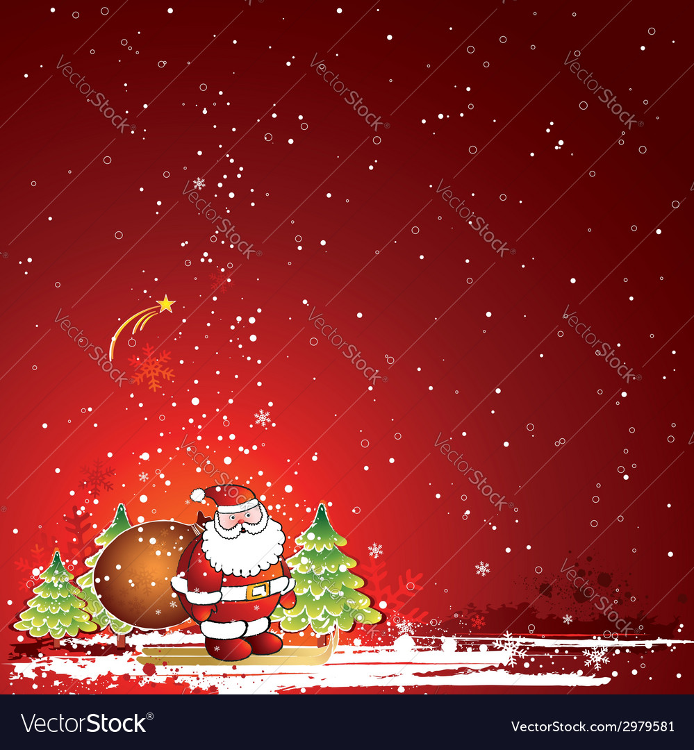 Christmas card with santa claus vector   Price: 1 Credit (USD $1)