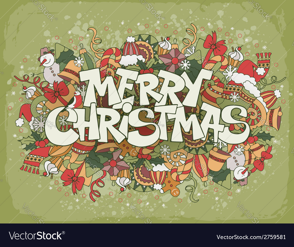 Christmas doodle background vector | Price: 1 Credit (USD $1)