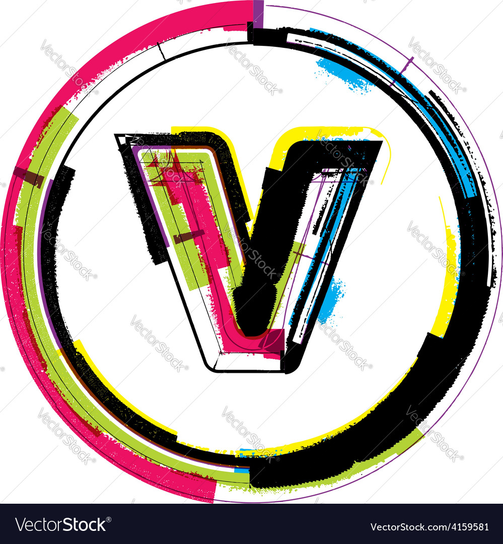 Colorful grunge font letter v vector   Price: 1 Credit (USD $1)