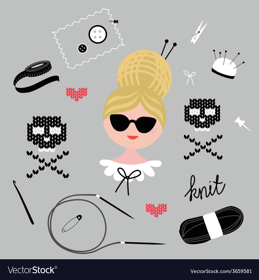 Fashionable knitting set vector | Price: 1 Credit (USD $1)