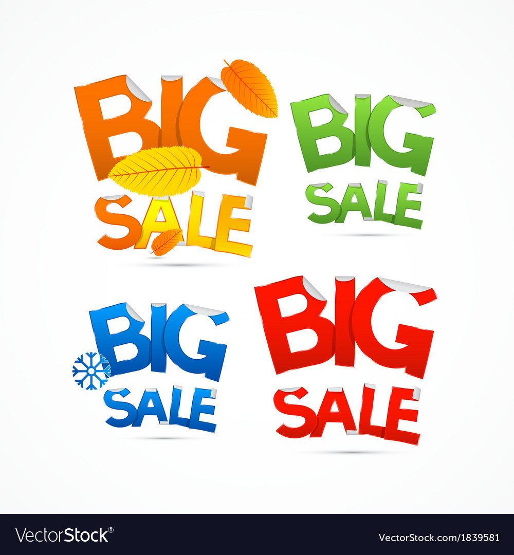 Four seasons colorful big sale titles vector | Price: 1 Credit (USD $1)
