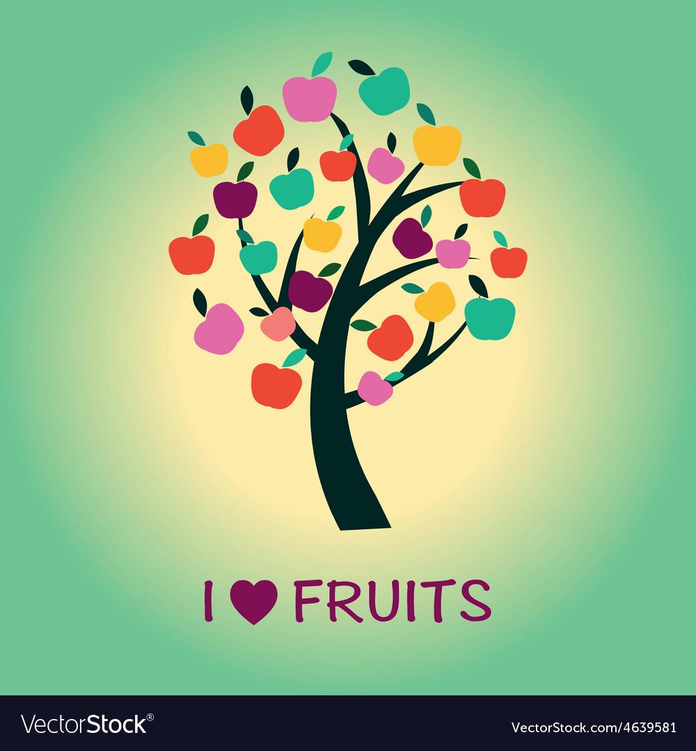 Fruit tree apple tree symbol vector