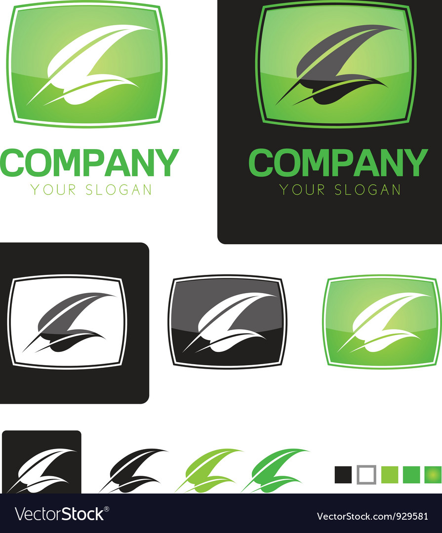 Green leaf company identity logo template vector | Price: 1 Credit (USD $1)