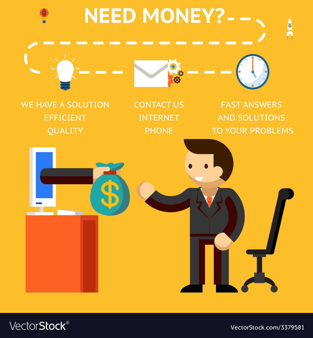 Need money concept vector | Price: 1 Credit (USD $1)