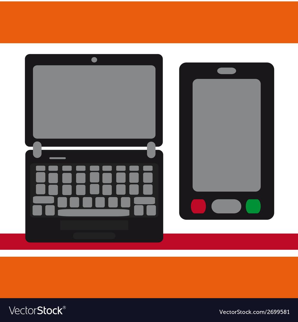 Notebook moblilny phone vector   Price: 1 Credit (USD $1)