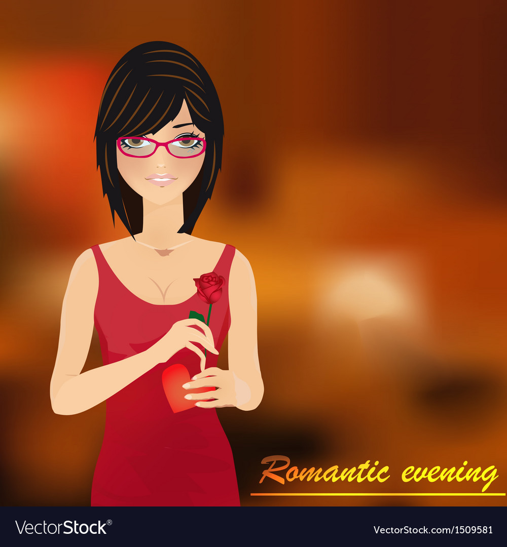 Romantic evening with girl background vector | Price: 1 Credit (USD $1)