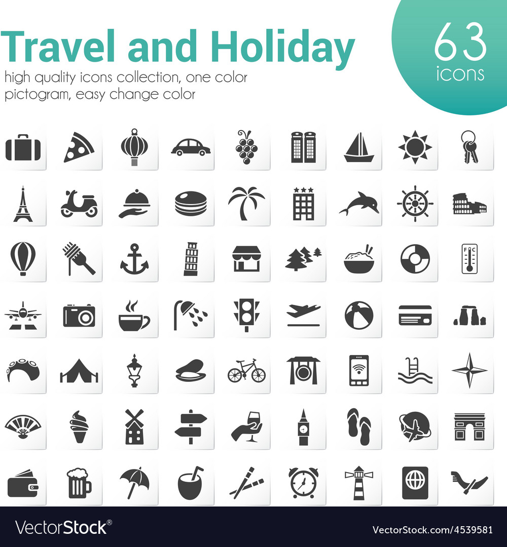 Travel and holiday icons vector | Price: 1 Credit (USD $1)