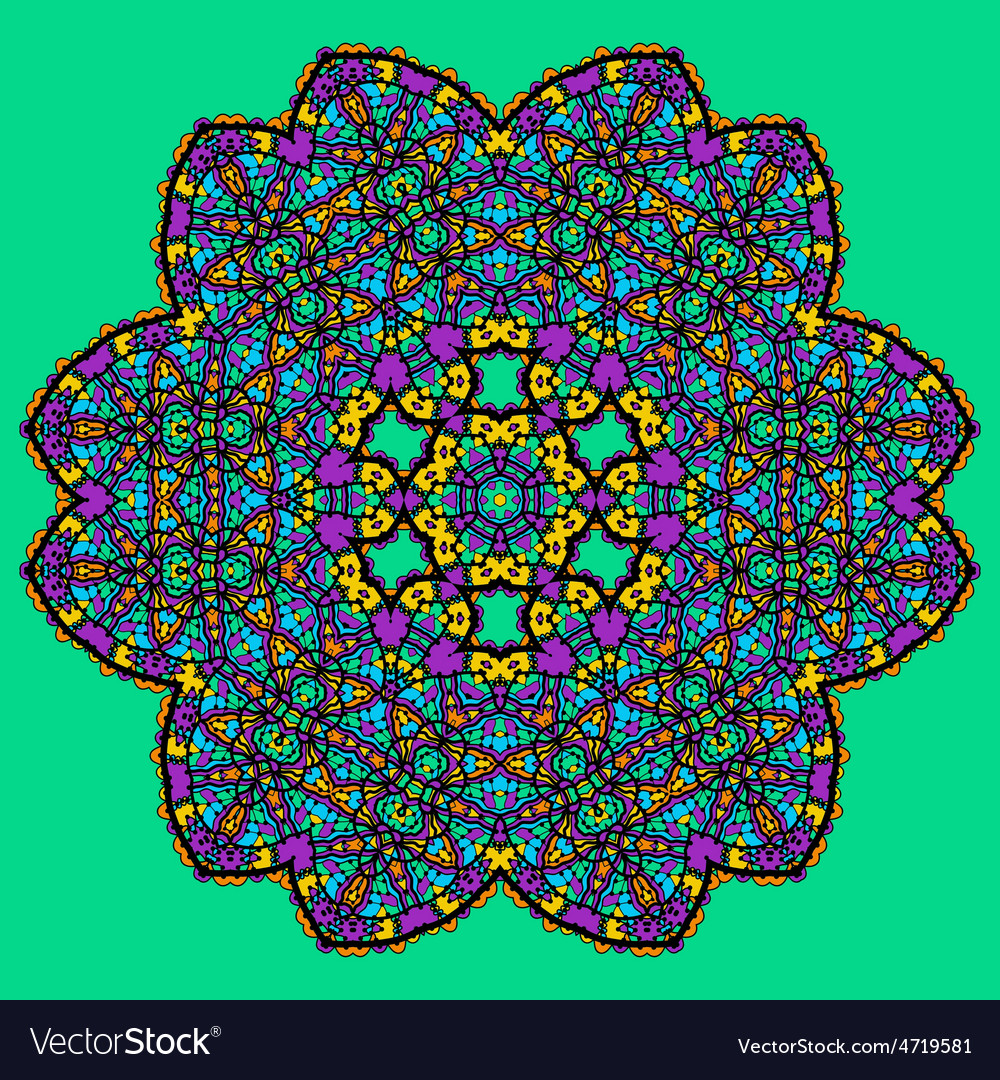 Unusual mandala art - chakra symbol ocer green vector   Price: 1 Credit (USD $1)
