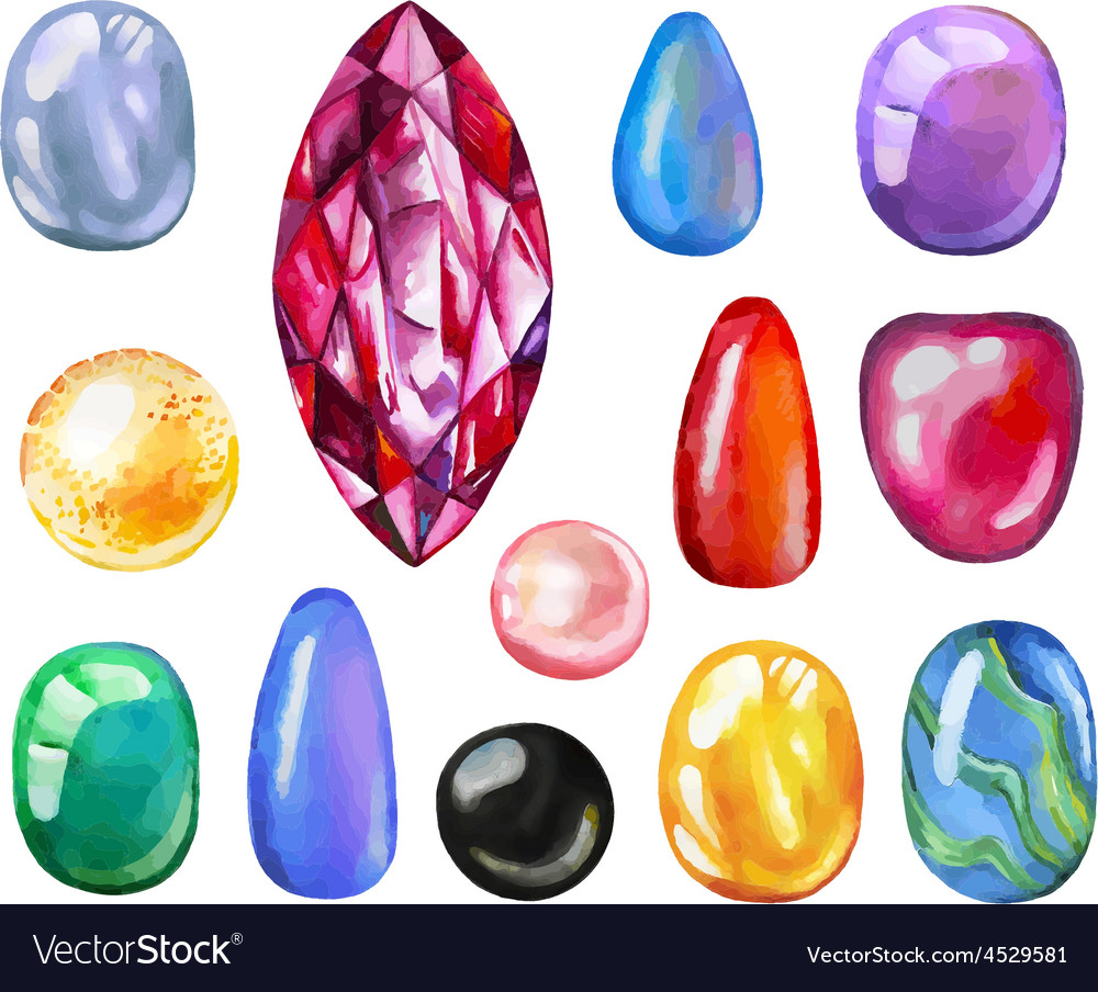Watercolor gems collection vector