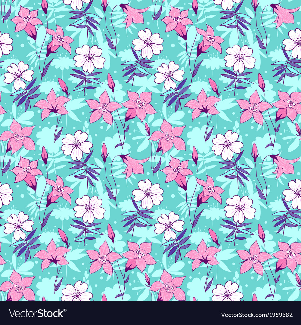 Beautiful wild bluebell flowers seamless pattern 2 vector | Price: 1 Credit (USD $1)