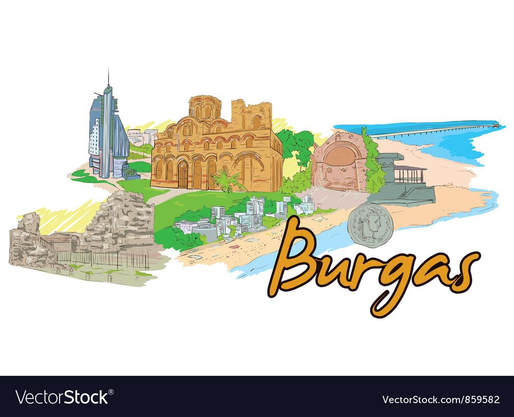 Burgas doodles vector | Price: 3 Credit (USD $3)